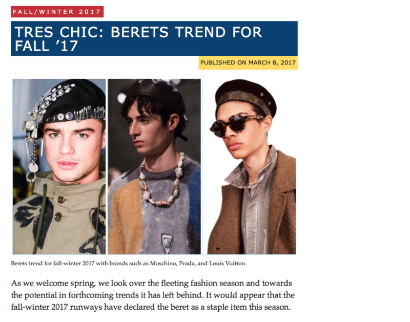 TRES CHIC: BERETS TREND FOR FALL '17 FOR THE FASHIONISTO