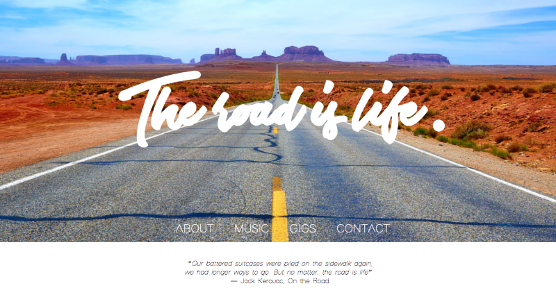 Musician website - The Road Is Life