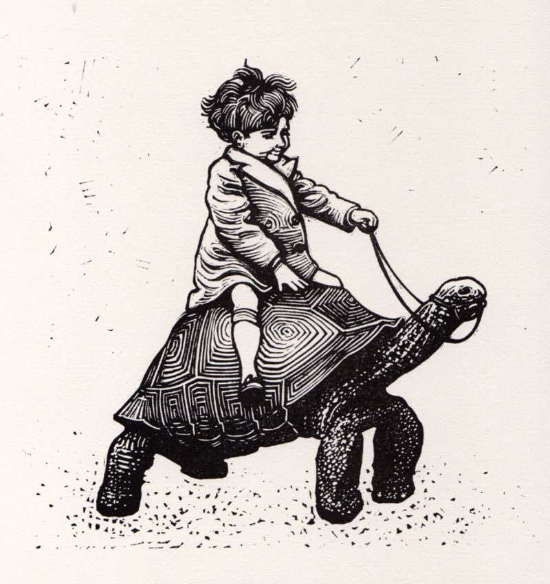 Tortoise Boy linocut