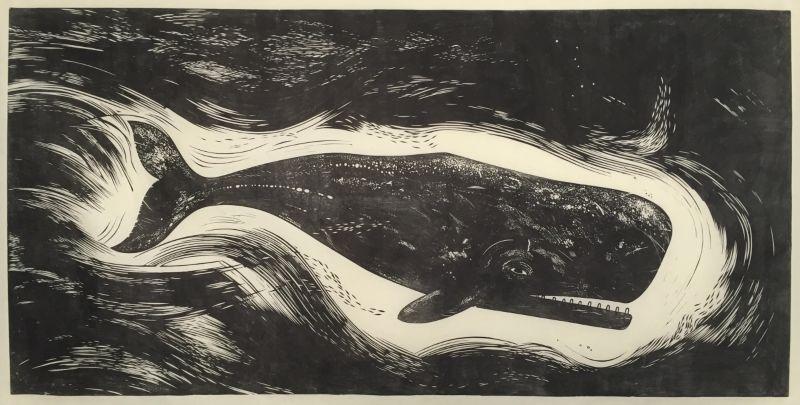 Whale linocut
