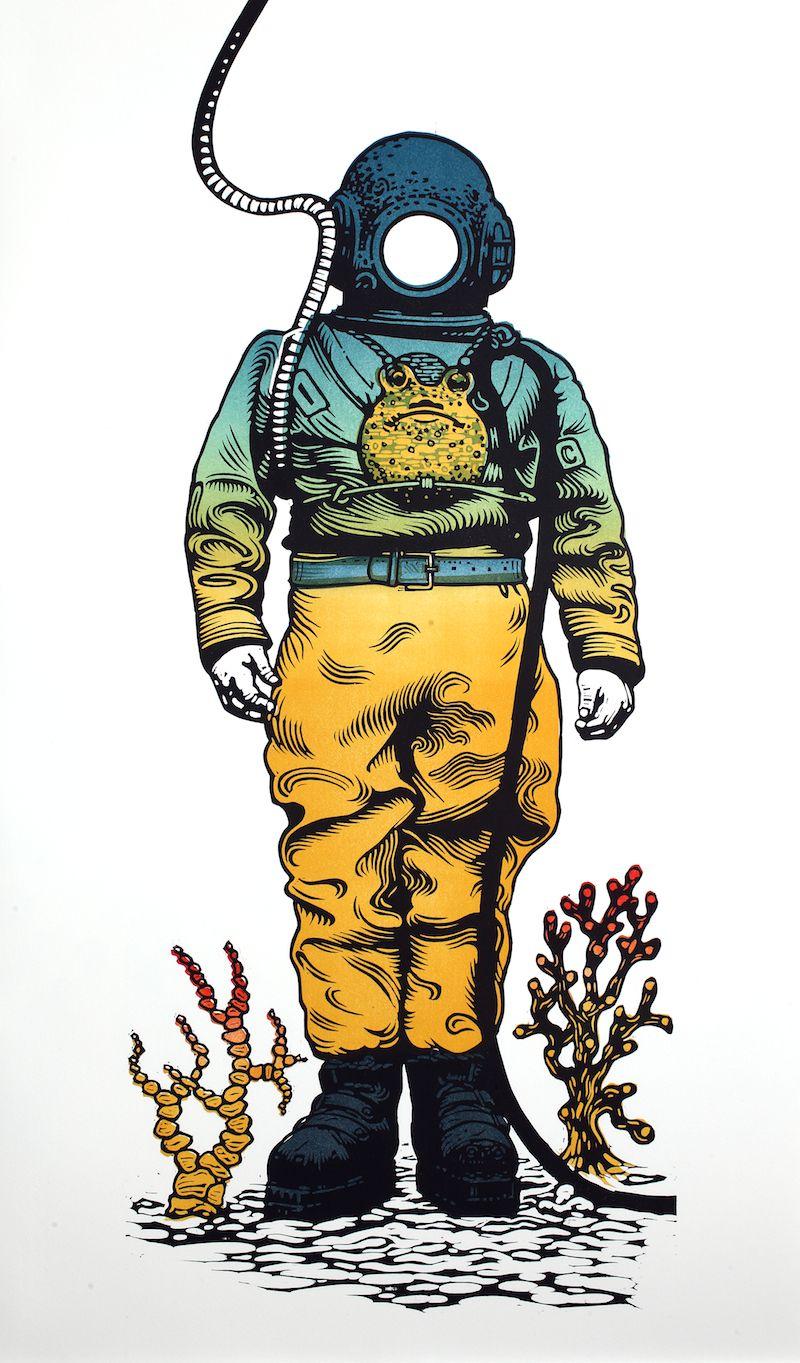Deep Sea Diver linocut
