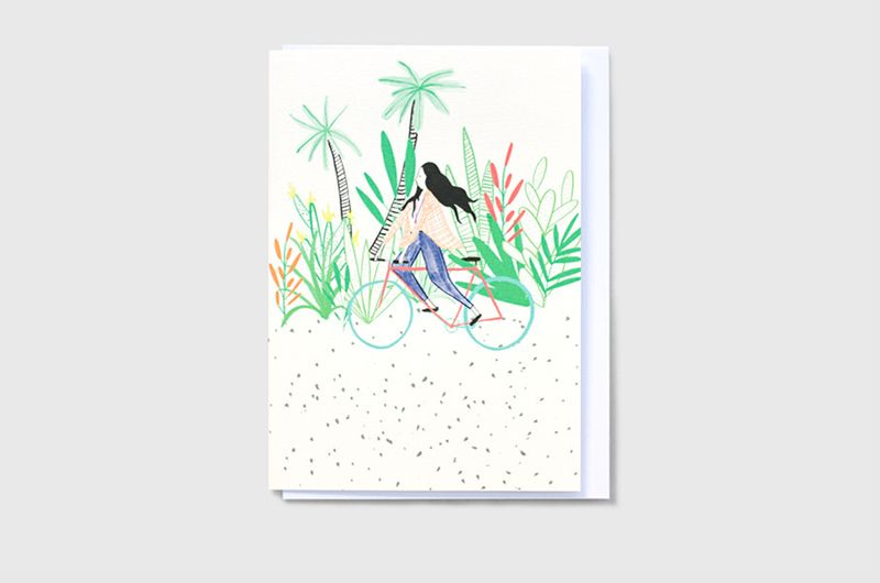 Adventurer and Weaving bicycles greeting card