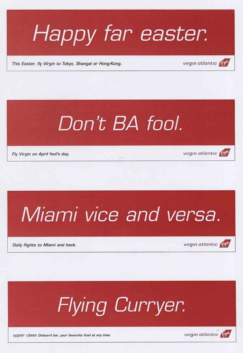 Virgin Atlantic - strips ads