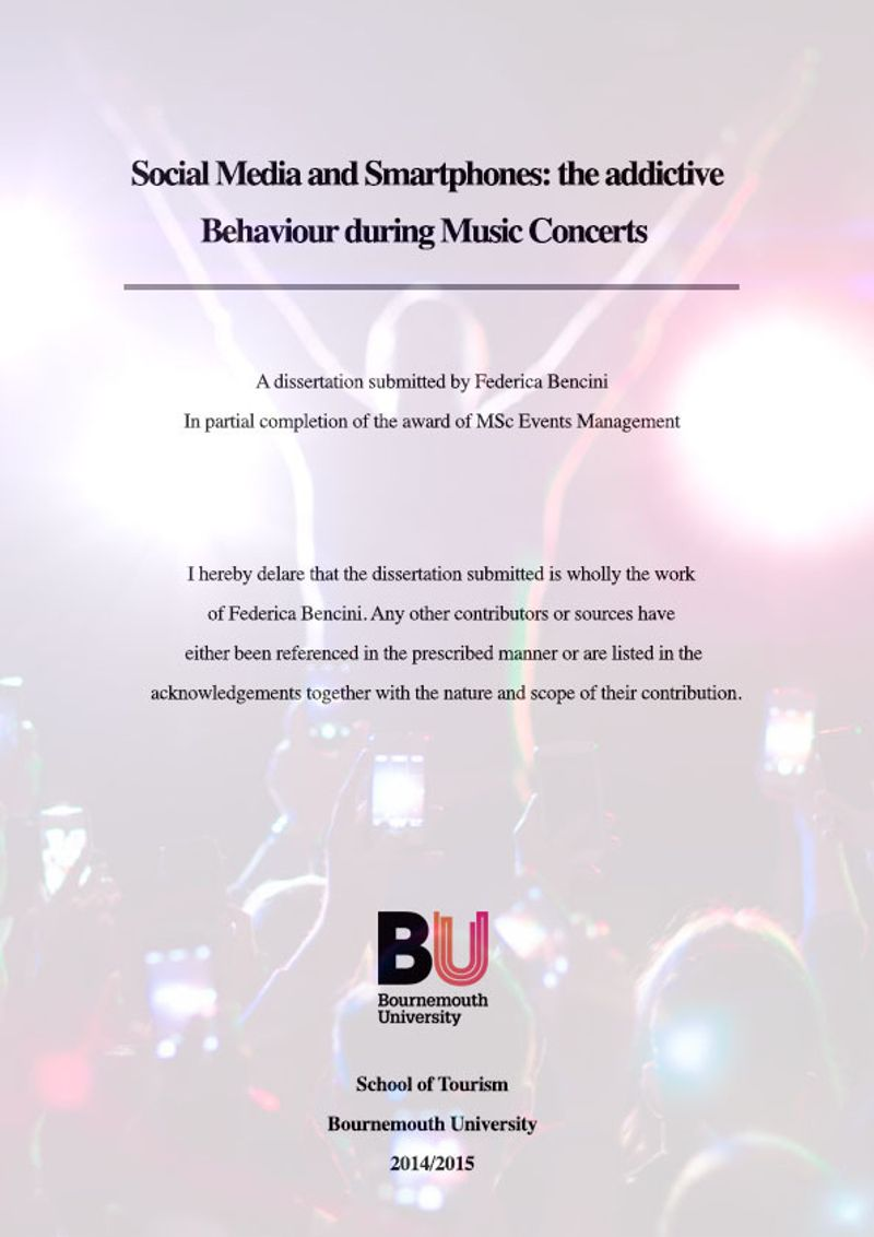 Dissertation - Social Media and Smartphones: the addictive behaviour during music concerts