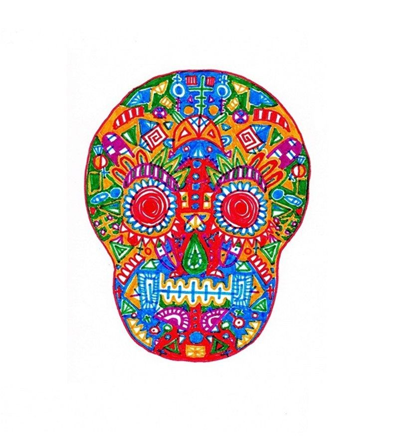 A really colourful skull