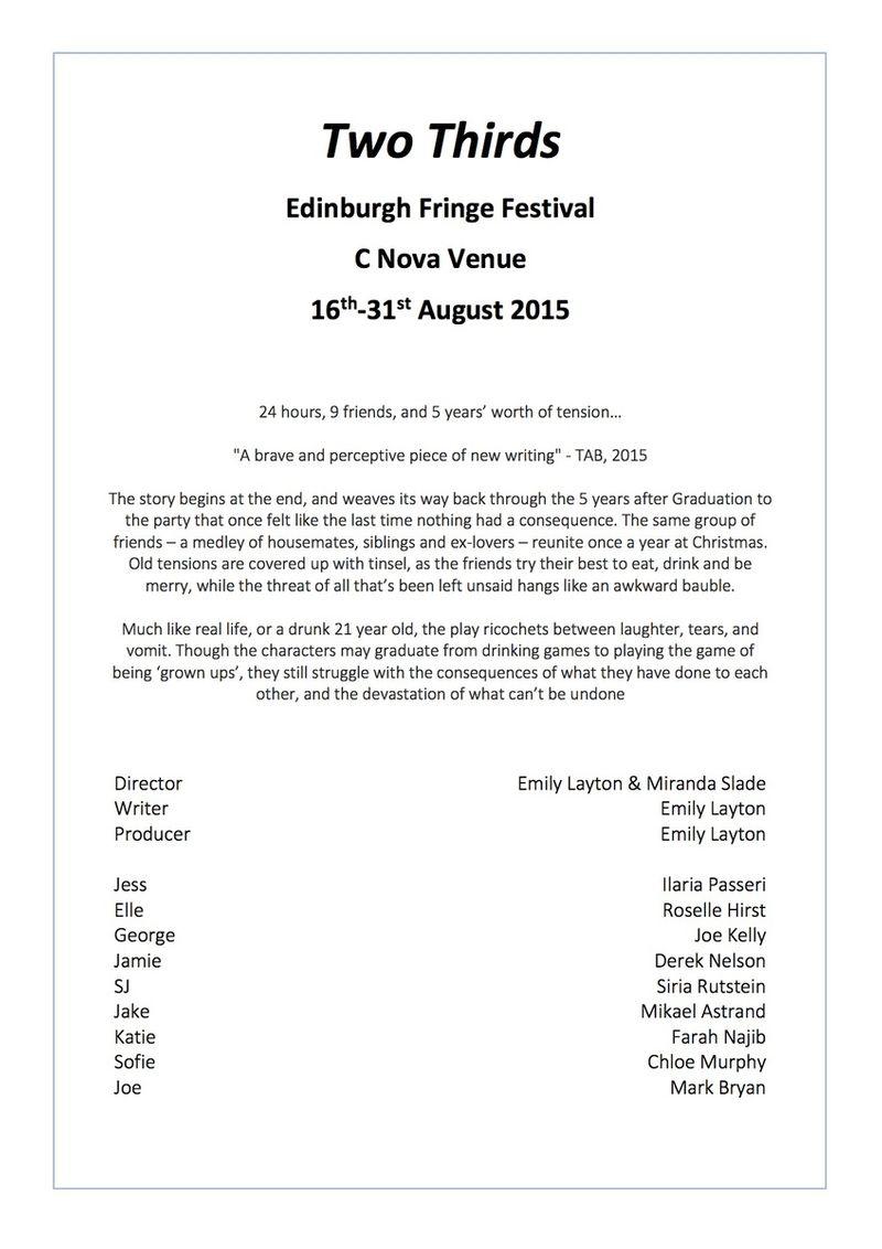'Two Thirds' at the Edinburgh Fringe Festival
