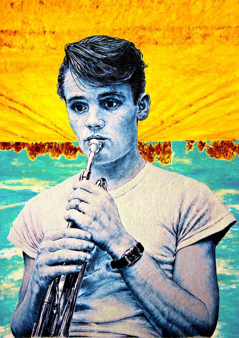 Chet Baker Ballpoint & Pastel Illustration