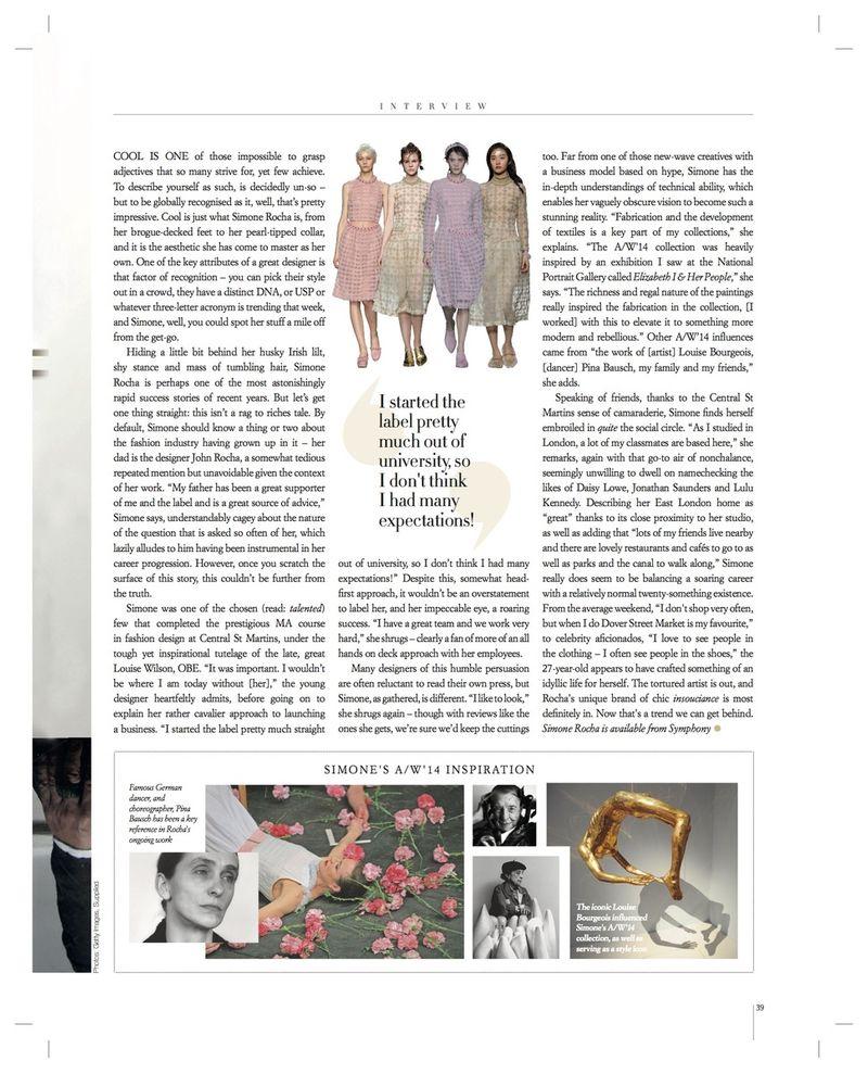 Simone Rocha interview for Grazia Luxury