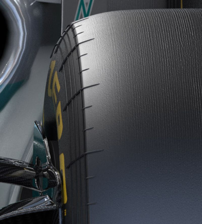 Mercedes F1 Detailed Wheel