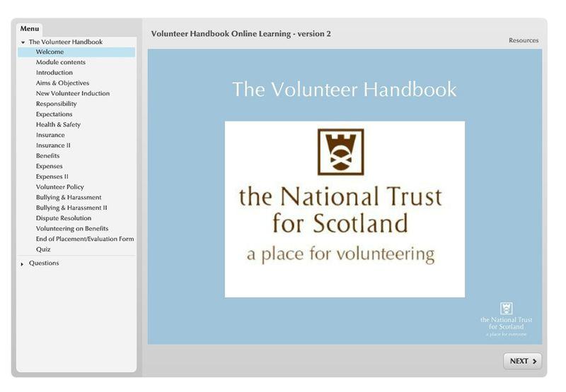 Interactive Volunteer Handbook for the National Trust for Scotland