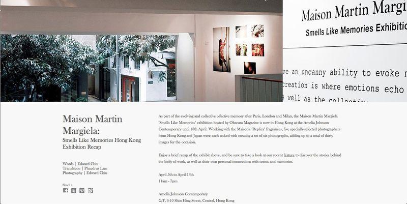 "Maison Martin Margiela REPLICA – ""SMELLS LIKE MEMORIES"", Obscura Magazine"