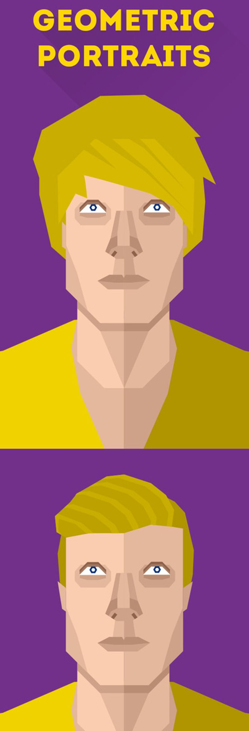 A geometric self-portrait done of myself for use on my portfolio and as an identity.
