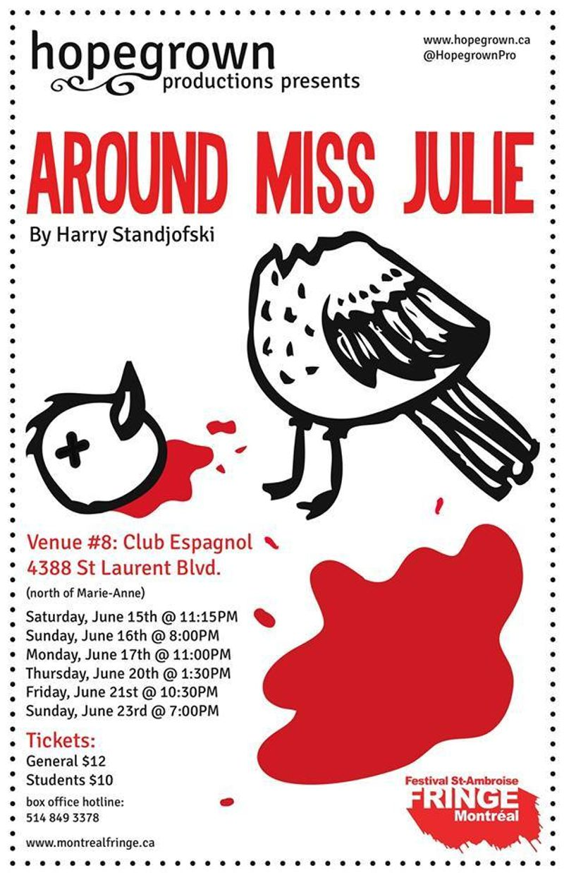 Hopegrown Productions presents Around Miss Julie