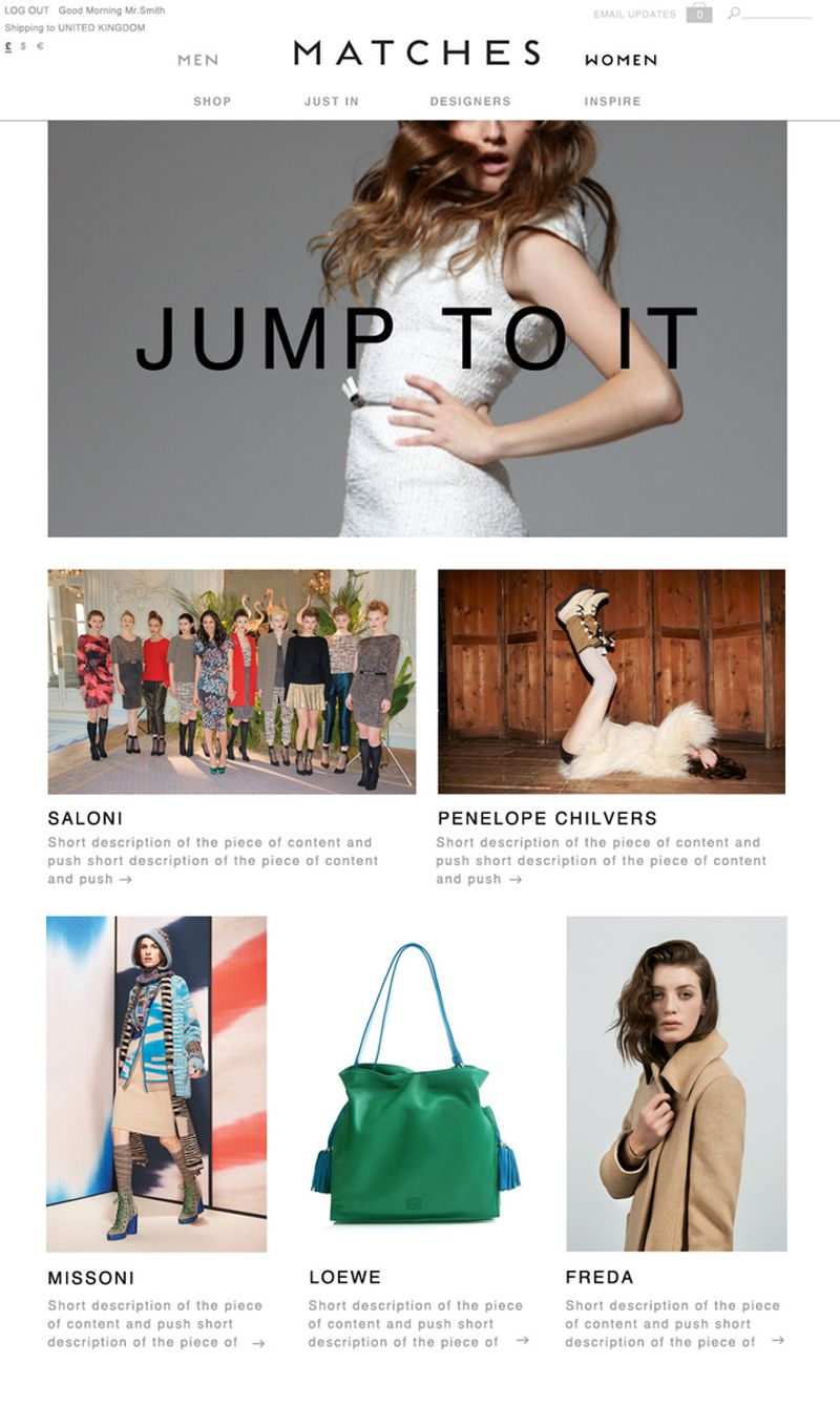 Website re-design for Matches Fashion