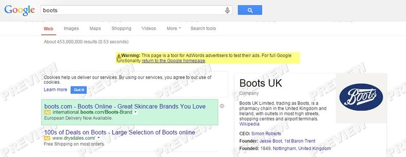 Boots International paid search activity launch