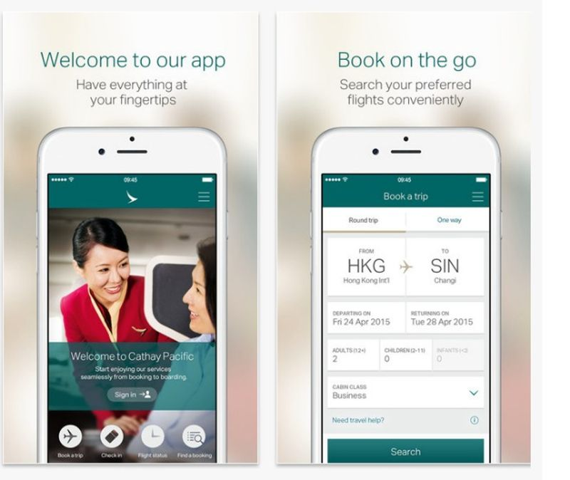 Cathay Pacific mobile app