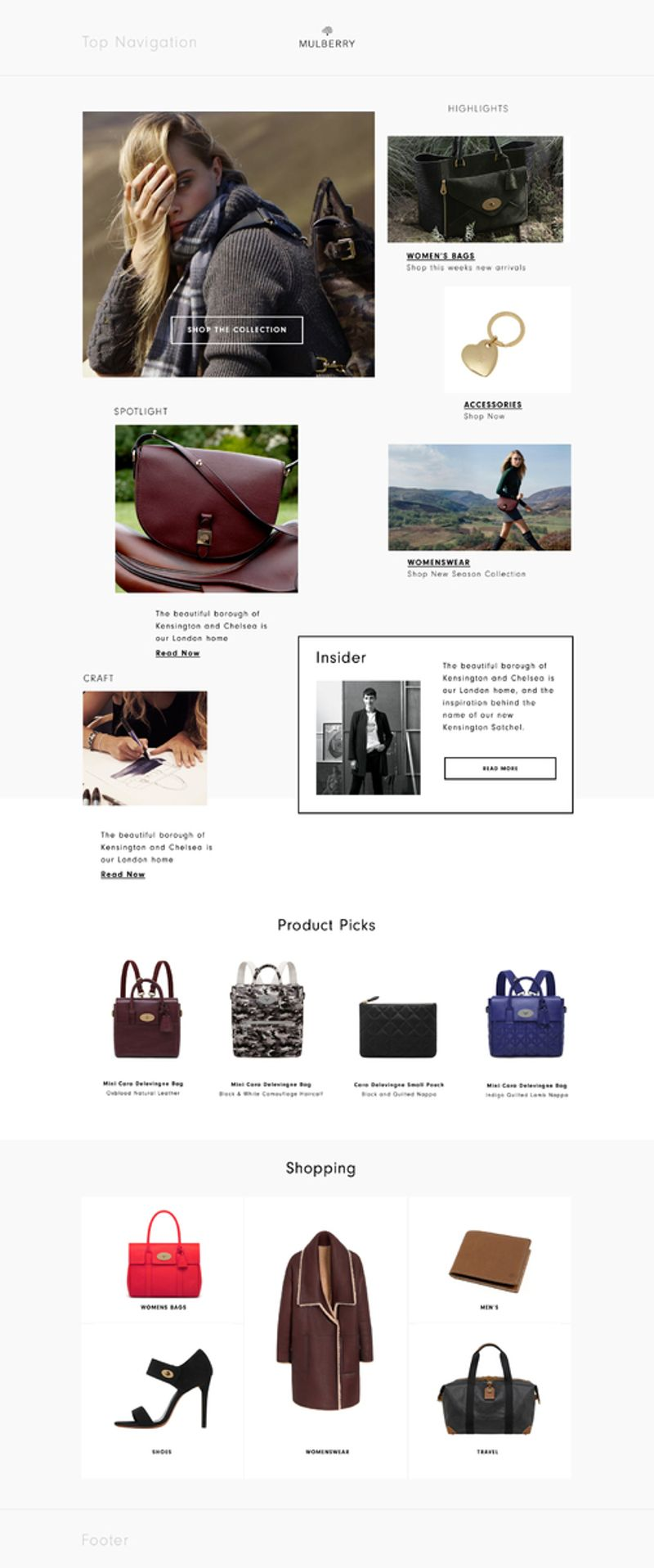 Mulberry: homepage and product page concepts