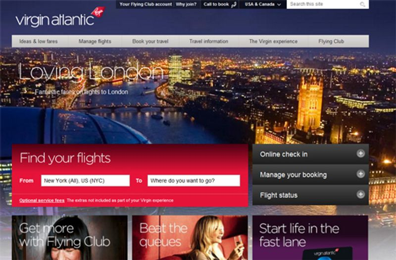 Virgin Atlantic complete site redesign