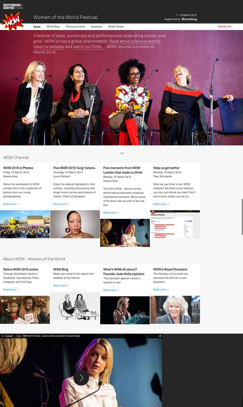 Southbank Centre's New Website (WOW Festival)