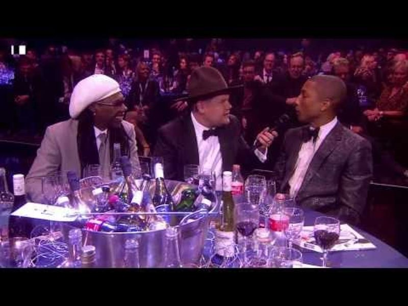 James Corden chats with Pharrell and Nile Rodgers | BRIT Awards 2014