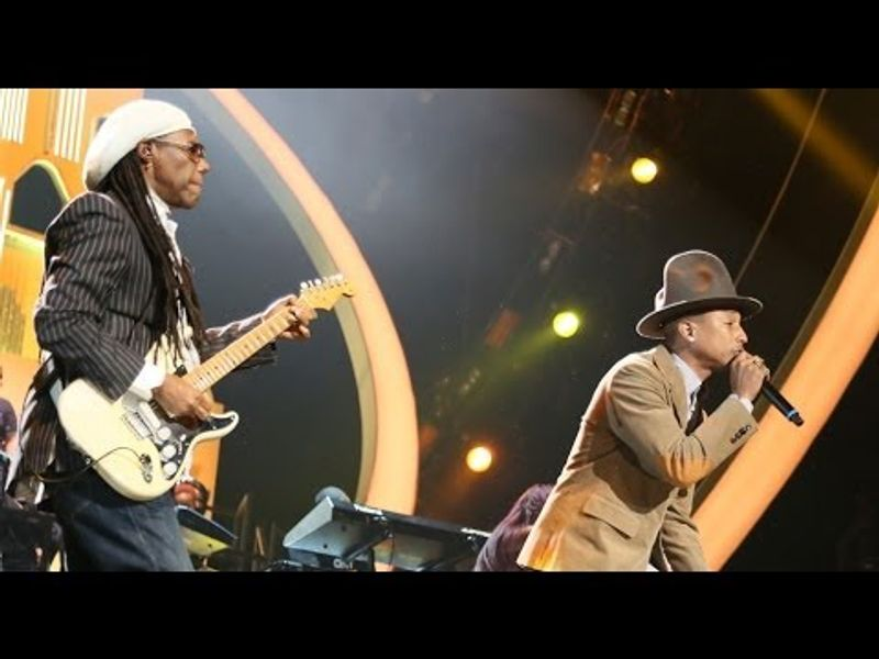 Pharrell & Nile Rodgers perform 'Get Lucky/Good Times/Happy' | BRIT Awards 2014